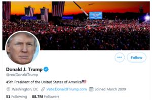 profil Donalda Trumpa na Twitterzezamieszki w USA - Trump Twitter