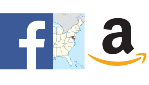 Mapa USA z zaznaczonym stanem Maryland i logosami największych pozywających go firm - Amazona i Facebooka