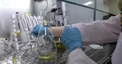 Kolby i inny sprzęt laboratoryjny w rękach naukowca