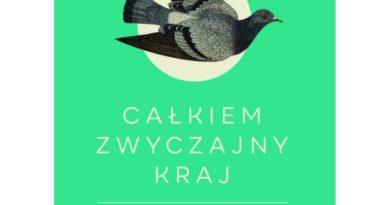 """Okładka książki """"Całkiem zwyczajny kraj"""", szary gołąb na zielonym tle"""