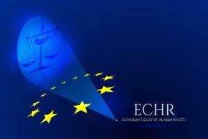 grafika przedstawiająca wagę będącą symbolem sprawiedliwości, gwiazdy będące symbolem UE i napis Europejski Trybunał Praw Człowieka (po angielsku)