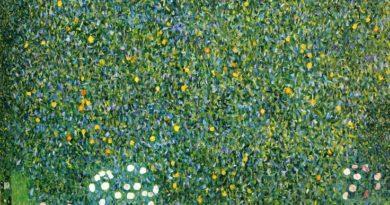 Obraz Klimta Różane Krzewy pod Drzewami - zielone malowidło