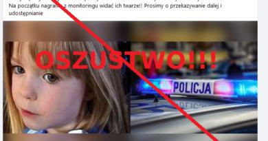 """Przekreślony i opatrzony napisem """"oszustwo"""" zrzut z ekranu postu z fałszywą treścią z FB"""