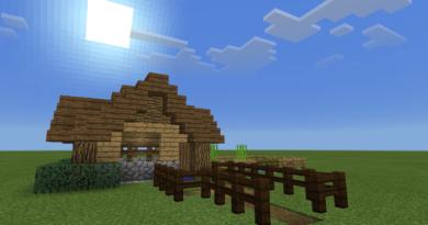 Domek w Minecrafcie: trwa, niebo, chmury, słońce - wszystko kwadratowe