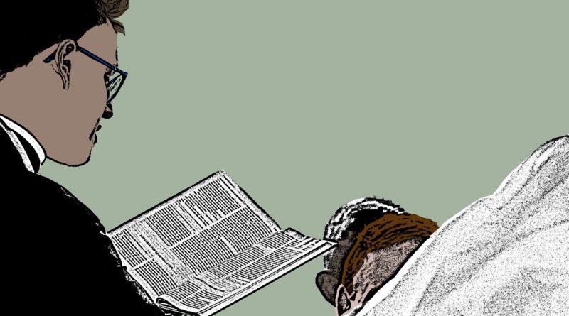 ksiądz czytający pismo, grafika