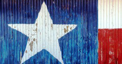 flaga Teksasu wymalowana na ścianie z blachy falistej