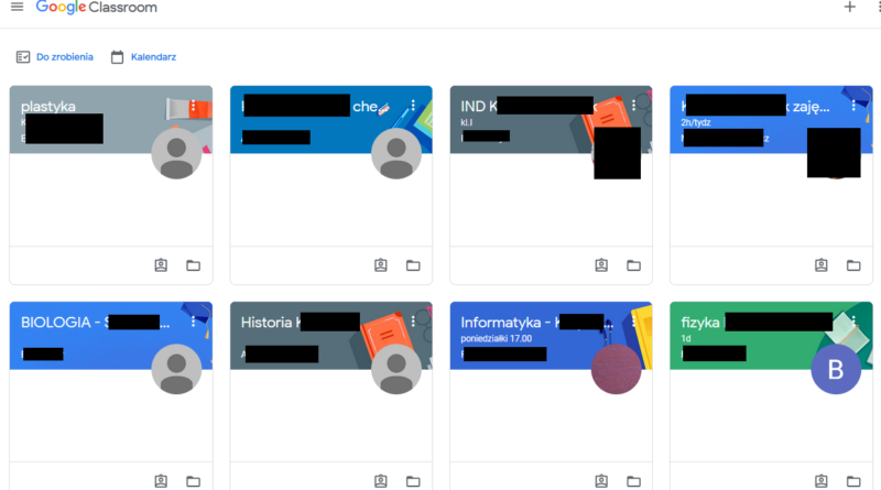 Zrzut z ekranu Classroom Google